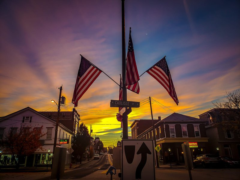 Downtown Greencastle with Flags at Sunset