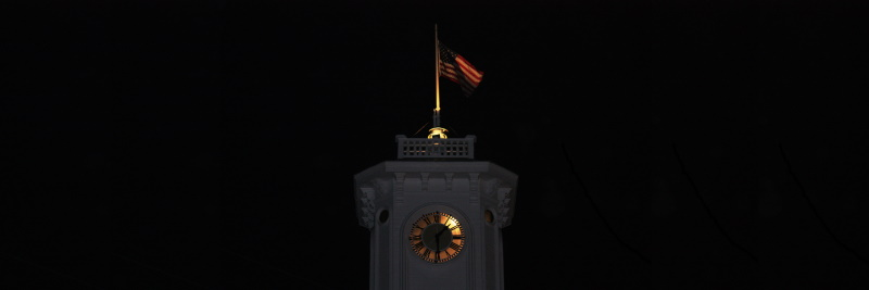 Clock tower after dark